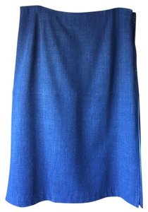 Moschino Pencil Side Slits Non Wrinkle Denim Casual Skirt Blue
