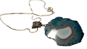 Agate Gemstone Slice Pendant Necklace Large Stone 20 inch 925 Silver Chain J497