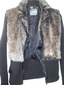 Charlotte Russe gray fur black knitted arms Jacket