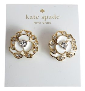 Kate Spade Nwt Kate Spade New York White Gold And Crystal Floral Pierced Earrings
