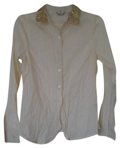 Ali & Kris Button Down Shirt Cream with gold metallic collar