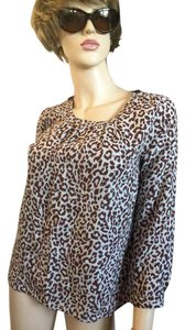 J.Crew Top Tan/ Brown cheetah