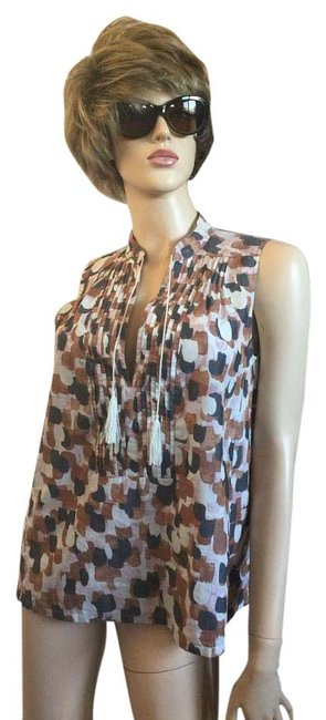 Item - Tan Pink Brown Tassel Tie Sleeveless Tunic Size 6 (S)