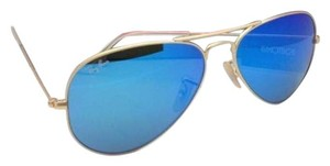 Ray-Ban New Ray-Ban Sunglasses RB 3025 Large Metal 112/17 55-14 Gold Aviator Frame w/ Blue Mirror