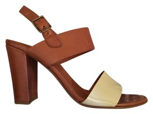 Jigsaw Color-blocking Neutral Leather Block Heel City Heel Brown Natural Sandals