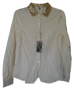 Ali & Kris Button Down Shirt Cream and gold glitter