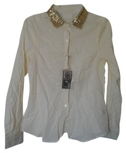 Ali & Kris Button Down Shirt Cream with gold glitter collar