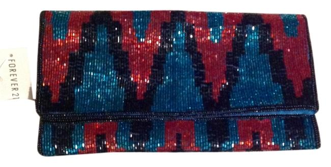 Item - Teal Red/Orange and Black Polyester Beaded Clutch