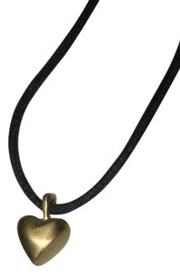 Me & Ro Gold heart on black cord