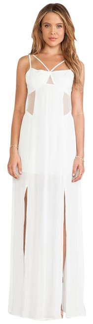 Item - Off White Mesh Panel Strappy Long Casual Maxi Dress Size 6 (S)