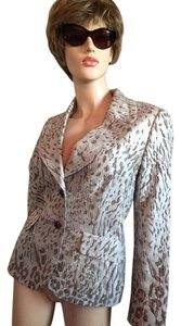Escada Structured Jacket Silk Ivory/Tan Blazer