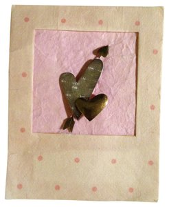 Themes Of Love Vintage 1960s Never Worn Hand Crafted Silver And Brass Mixed Metals Hearts And Arrow Love Cupid Pin Brooch On Original Handmade Paper Gift Card