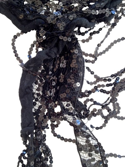Other Sequin Fringe Scarf, Black -- Glamorous & Gorgeous!