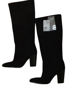 H&M Suede Knee High Knee Boot Black Boots