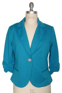 Matty M 3/4 Sleeve Turquoise Ruched Sleeves BLUE Blazer