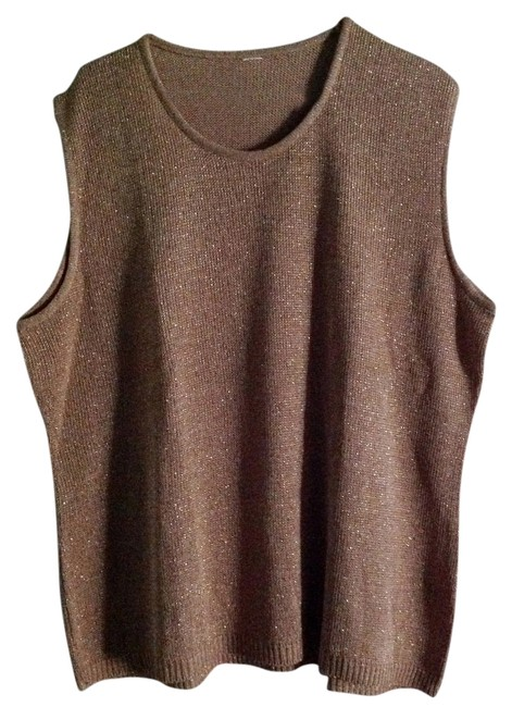 Other Metallic Gold Knit Sleeveless Plus Size Sweater