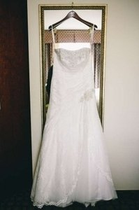 David's Bridal Ivory Lace Strapless Fit-and-flare Gown P3344 Plus Bonus Items Wedding Dress Size 14 (L)