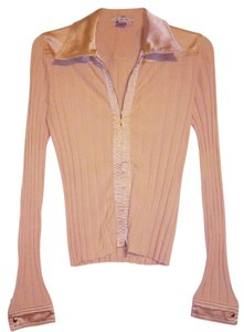 CAbi Zipper Silk Top Beige