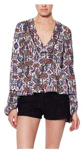 Dolce Vita Print Peplum V-neck Longsleeve Date Night Top Multi