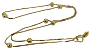 Other 14K Solid Yellow Gold Ball and Box Chain Necklace 16 inches