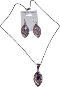 Impulses Oxidized Marquise Pendant and Earrings with Amethyst