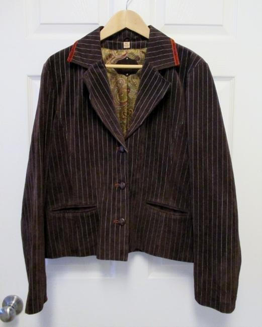 Wilsons Leather Xl Fitted Pinstripe Leather Brown Leather Jacket
