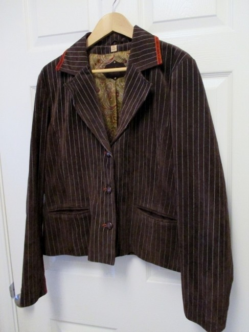 Wilsons Leather Xl Fitted Pinstripe Brown Leather Jacket