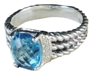 David Yurman David Yurman Petite Wheaton 8x10 mm Blue Topaz Diamonds Ring, size 7.25