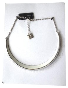 BCBGMAXAZRIA Silver White color crescent necklace