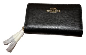 Coach Coach Signature PVC Small Double Zip Coin Purse Black Wallet F63975