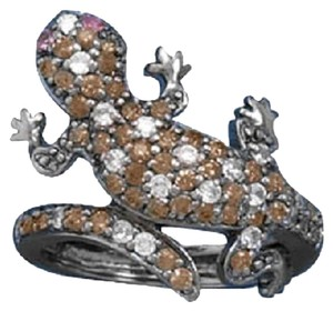 Other Black Rhodium Plated CZ Gecko Ring