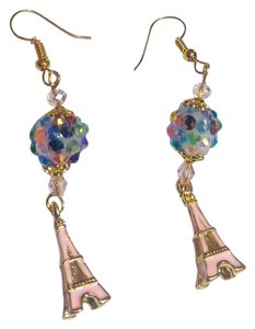 New Eiffel Tower Charm Earrings Gold Tone Pink J2559