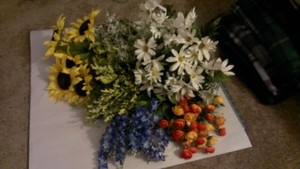 Lot Of Assorted Artificial Flowers Wedding Bouquet Fall Sunflower
