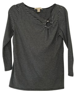 Michael Kors Stripes 3/4 Sleeve Basic T Shirt Gray Black
