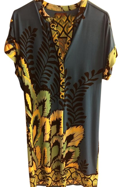 Item - Blue Stretchy Print Above Knee Short Casual Dress Size 8 (M)