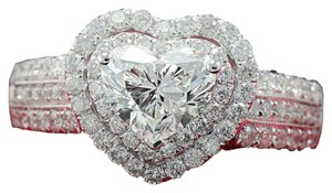 New Pave AAA CZ & White Topaz & 14k White Gold Filled Heart Ring 7