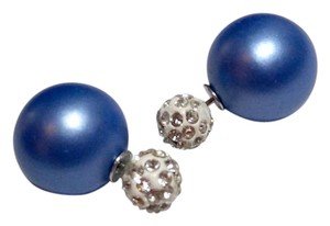 New Double Side Round Stud Earrings Crystals White Blue J2562