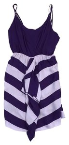 Alice + Olivia short dress Violet Striped Spaghetti on Tradesy