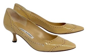 Manolo Blahnik Tan Dotted Patent Leather Heels Pumps