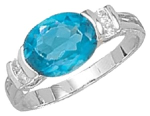 Other Rhodium Plated Blue Oval CZ Ring