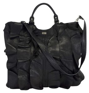 Be&D Black Leather Ruffly Tote