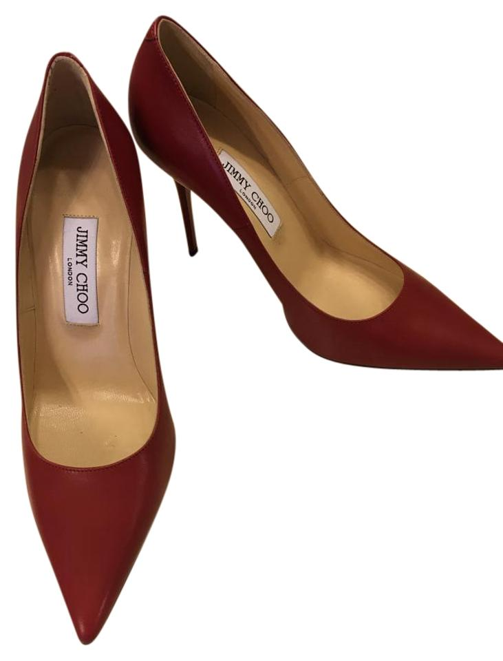 Jimmy Choo Red Leather Leather Red Abel Pumps 954926