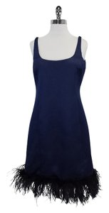 Armani Collezioni short dress Blue Sleeveless Feather on Tradesy
