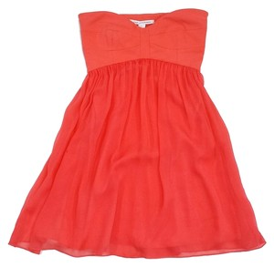Diane von Furstenberg short dress Coral Silk Strapless on Tradesy