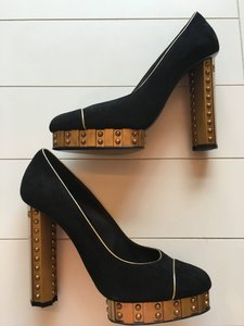 Chanel Limited Edition Black Suede with Gold Piping Pumps