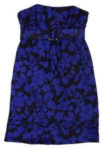 Shoshanna short dress Black & Blue Floral Silk Strapless on Tradesy