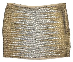 Haute Hippie Gold & Silver Sequined Silk Mini Mini Skirt