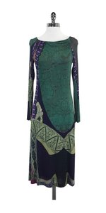 Etro Green Earth Tone Print Long Sleeve Dress