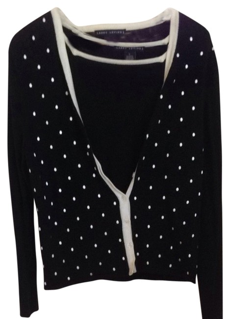 Larry Levine Polka Dots White Sweater Set Sleeveless Long Sleeve Cardigan