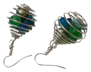 Other New Silver Tone Blue Green Caged Beads Earrings J2565